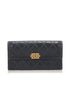 Chanel Surpique Boy Leather Long Wallet Black