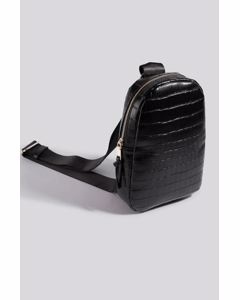 One Strap Sling Bag Black Croco