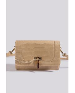 Triangle Loop Crossbody Bag Beige Croco