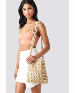 Wooden Pearl Bag Beige