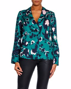 By Malina Blouse Daria Shadow Garden Green
