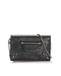 Balenciaga Motocross Leather Wallet On Chain Black