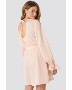 Open Back Flounce Detail Dress Dusty Pink
