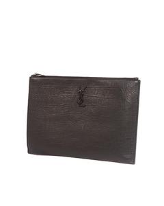Ysl Croc Embossed Leather Clutch Bag Black