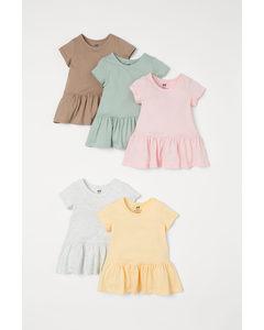 5er-Pack Jerseykleider Gelb/Hellrosa/Mattgrün