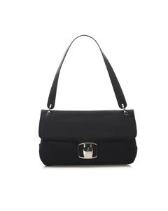 Ferragamo Vara Leather Shoulder Bag Black