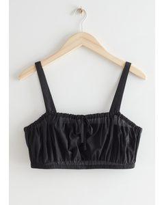 Cropped Drawstring Bandeau Top Black