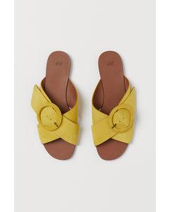 Slippers Geel/suède
