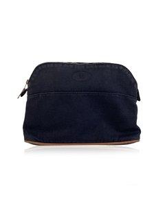 Hermes Paris Blue Cotton Canvas Bolide Travel Case Cosmetic Bag