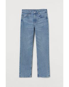 Straight High Ankle Jeans Blå
