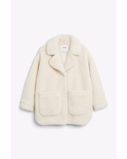 Monki Oversized Faux Shearling Coat Cream White