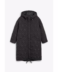 Oversized Quilted Parka Coat Black Magic