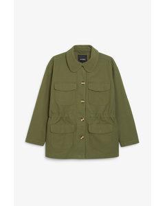 Utility Style Jacket Khaki Green