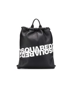 Dsquared2 Black White Logo Leather Backpack