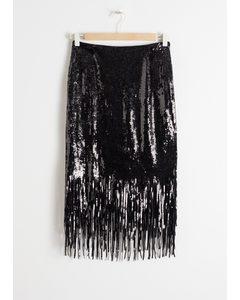 Sequin Fringe Pencil Skirt Black