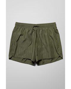 Tan Stripe Swim Shorts Khaki Green