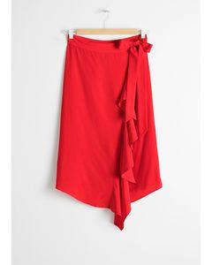 Ruffle Wrap Midi Skirt Red