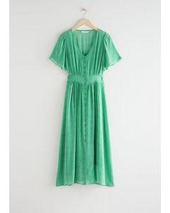 Floral Print Midi Dress Green Print