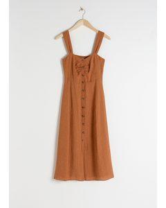 Linen Blend Midi Dress Rust