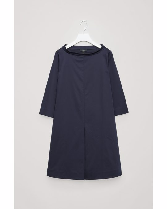 COS Stand-up Collar Cotton Dress Navy