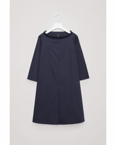 Stand-up Collar Cotton Dress Navy