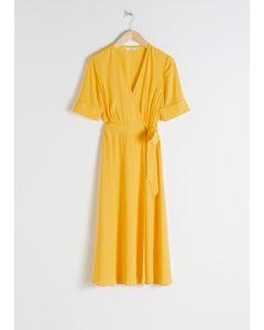 Midi Wrap Dress Yellow