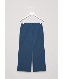 Poplin Wide-leg Trousers Indigo
