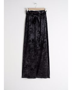 Stretch Crushed Velvet Trousers Black