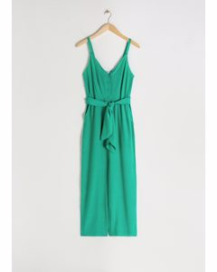 Belted Scalloped Edge Jumpsuit Green