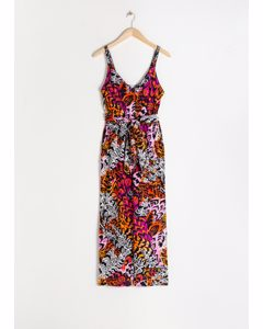 Belted Scallop Edge Jumpsuit Feather Print