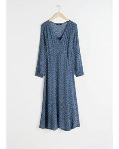 Sheer Printed Midi Dress Micro Floral