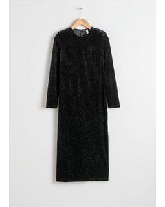Long Sleeve Velvet Midi Dress Black