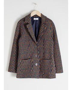 Striped Cotton Blend Blazer Stripe
