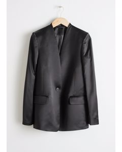 Straight Fit Satin Blazer Black