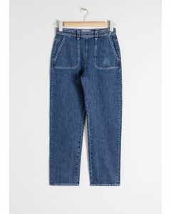 High Waisted Tapered Jeans Blue