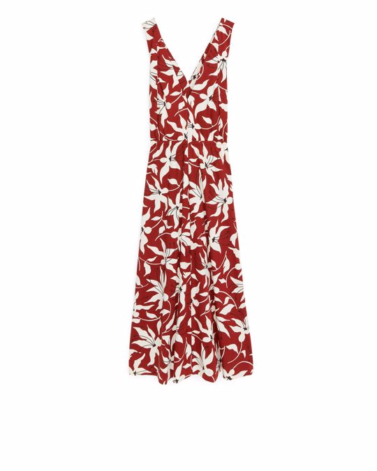 Arket Cross-back Jersey Dress Orange/floral