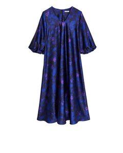 Satin Balloon-sleeve Dress Dark Blue/floral
