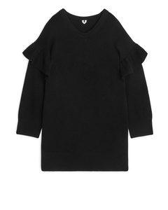 Ruffle Detail Knitted Dress Black