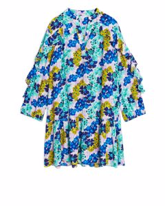 Flouncy Floral Ruffled Dress Blue/floral