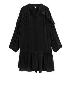 Flouncy Ruffled Dress Black