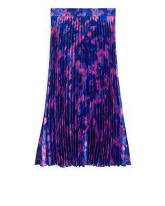 Plissé Satin Skirt Dark Blue/pink Floral