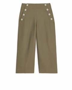 Cropped Sailor Trousers Khaki Green