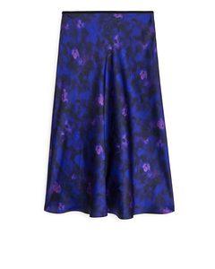 Floral Satin Skirt Dark Blue/floral