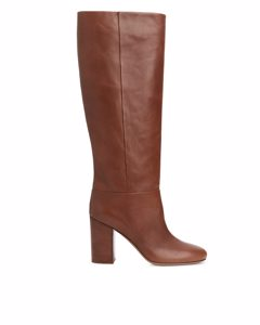 High-heel Leather Boots Dark Brown