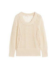 Pullover aus Wollmischung mit Spitze Beige