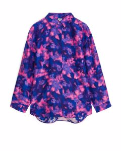 Relaxed Habutai Silk Shirt Pink/blue