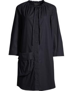 SHIRT DRESS WITH DRAWSTRING NECK Navy