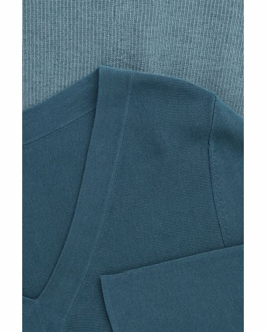 COS METALLIC-PANELLED A-LINE DRESS Petrol blue