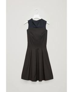 PANELLED HIGH-NECK DRESS Navy
