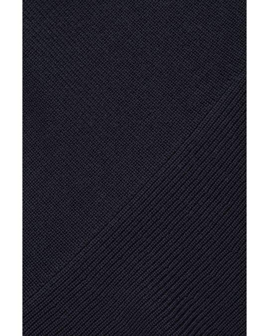 COS COLOUR-BLOCK WOOL-KNIT DRESS Navy / petrol blue / camel